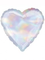 "Single 18"" Iridescent Heart Shaped Foil Balloon"