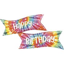 "Happy Birthday 49"" Tie Dye Foil Balloon"