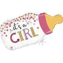 """It's A Girl Baby Bottle 33"""" Foil Balloon"""