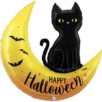 "Happy Halloween Moon & Cat 41"" Foil Balloon"