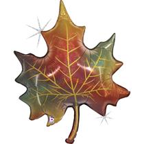 "Glitter Holographic Autumn Leaf 35"" Foil Balloon"