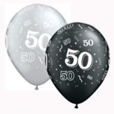 """Assorted Black & Silver Age 50 Latex 11"""" Balloons 25pk"""