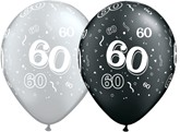 """11"""" Assorted Black & Silver Age 60 Latex Balloons 25pk"""