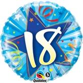 18th Birthday Shining Star Bright Blue Foil Balloon