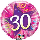 "30 Shining Star Hot Pink 18"" Foil Balloon"