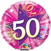 "50th Birthday Shining Star Hot Pink 18"" Foil Balloon"