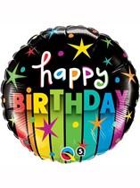 "Happy Birthday Colourful Stripes 18"" Foil Balloon"