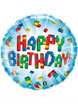 "Happy Birthday Building Blocks 18"" Foil Balloon"