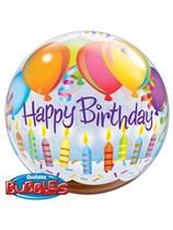 "Happy Birthday Balloons & Candles Bubble Balloon 22"""