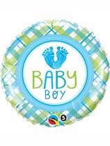 "Baby Boy Footprints 18"" Foil Balloon"