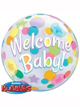 """Welcome Baby Colourful Dots Bubble Balloon 22"""""""