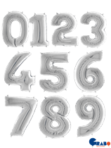 """Silver 26"""" Foil Number Balloons"""
