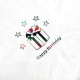 """""""Happy Birthday"""" White Napkins - 15pk"""