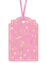 It's a Girl Baby Shower Pink Paper Gift Tags 25pk
