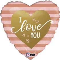 "Valentine Grabo 18"" Rose Gold Stripe I Love U Foil Balloon"