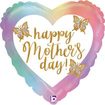 "Happy Mother's Day Opal Butterflies 18"" Foil Balloon"