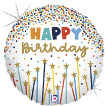 "Happy Birthday 18"" Glitter Star Candles Foil Balloon"