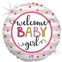 """Welcome Baby Girl 18"""" Foil Balloon"""