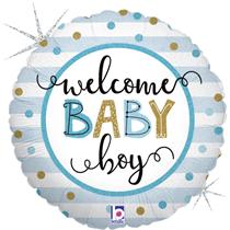 "Welcome Baby Boy 18 "" Foil Balloon"