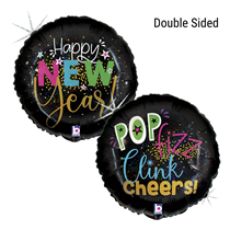 """Happy New Year Glitter Holographic 18"""" Foil Balloon"""
