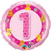 "18"" Pink First Birthday Foil Balloon"