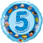 "18"" Blue 5th Birthday Pirate Foil Balloon"