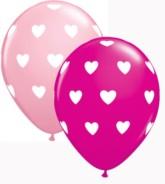 "Assorted Big Hearts 11"" Latex Balloons 25pk"