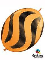 "Orange Wavy Stripes 12"" Quick Link Latex Balloons 50pk"