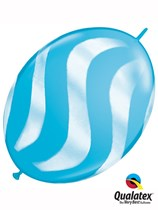 """Robin's Egg Blue with White Wavy Stripes 12"""" Quick Link Balloons 50pk"""