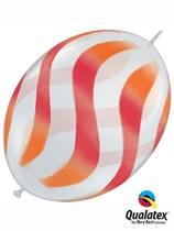 "Orange & Red Wavy Stripes 12"" Quick Link Latex Balloons 50pk"