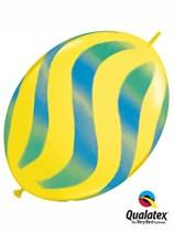 "Blue & Green Wavy Stripes 12"" Yellow Quick Link Balloons 50pk"