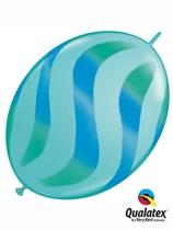 "Blue & Green Wavy Stripes 12"" Blue Quick Link Balloons 50pk"