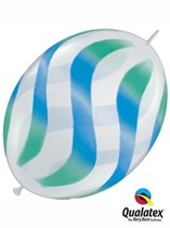 """Blue & Green Wavy Stripes 12"""" Clear Quick Link Balloons 50pk"""