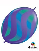 "Blue & Green Wavy Stripes 12"" Purple Quick Link Balloons 50pk"