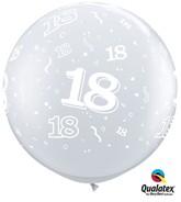 3ft Diamond Clear Age 18 Latex Balloons - 2pk