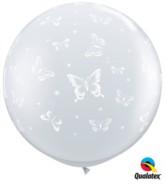 3ft Diamond Clear Butterflies Latex Balloon - 2pk