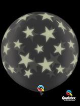 3ft Glow Print Big Stars Latex Balloons - 2pk