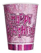 Birthday Glitz Pink 9oz Prismatic Cups 8pk