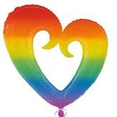 """Rainbow Open Heart 32"""" SuperShape Foil Balloon"""