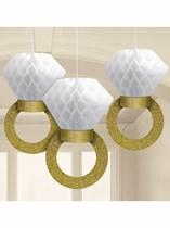Honeycomb Engagement Ring Decorations 3pk
