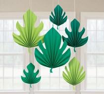 Hawaiian Palm Leaf Shaped Fan Decorations 6pk