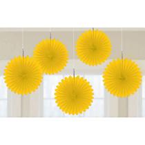 Yellow 15cm Mini Paper Fans 5pk