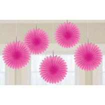Bright Pink 15cm Mini Paper Fans 5pk