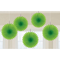 Kiwi Green 15cm Mini Paper Fans 5pk