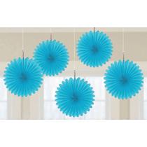 Caribbean Blue 15cm Mini Paper Fans 5pk