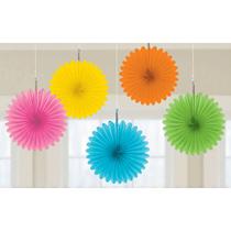 Multi Coloured 15cm Mini Paper Fans 5pk