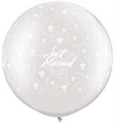 """Just Married 30"""" Pearl White Roses Latex Balloons 2pk"""