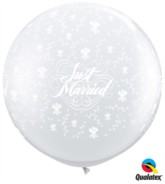 Just Married 3ft Clear Roses Latex Balloons 2pk
