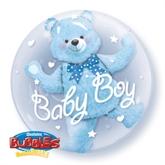 """Baby Boy Blue Bear Double Bubble Balloon 24"""""""