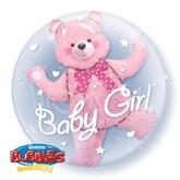 "Baby Pink Bear Double Bubble Balloon 24"""